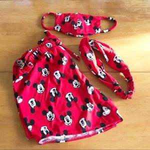 Mickey Mouse face mask, turban & shorts set